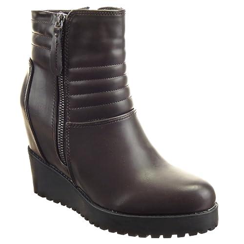 Sopily - Zapatillas de Moda Botines Zapatillas de plataforma A medio muslo mujer Líneas Talón Plataforma