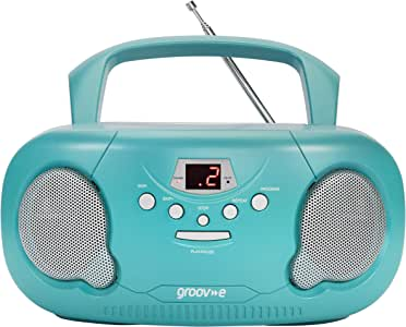 Groov-e Portable CD Player Boombox with AM/FM Radio, 3.5mm AUX Input, Headphone Jack, LED Display - Teal