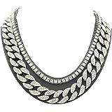 Shiny Jewelers USA Mens Iced Out Hip Hop Silver Tone CZ Miami Cuban Link Chain Choker Necklace