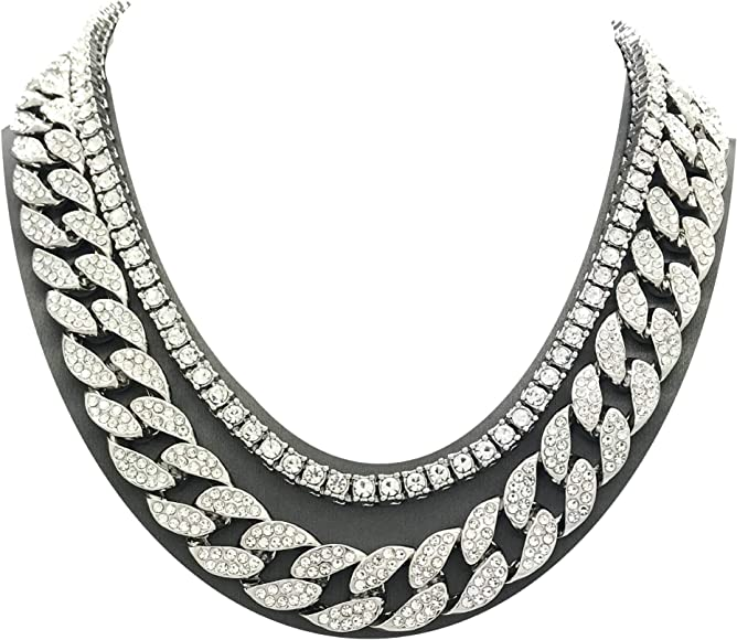 fe9ee30edb Mens Iced Out Hip Hop Silver Tone CZ Miami Cuban Link Chain Choker Necklace