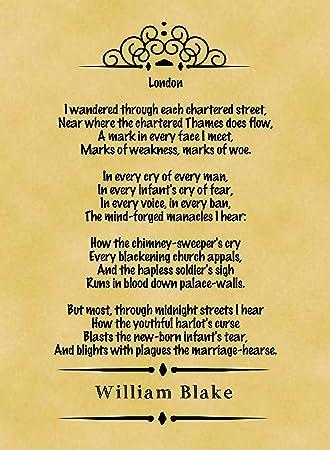 A4 Size Parchment Poster Classic Poem William Blake London: Amazon ...