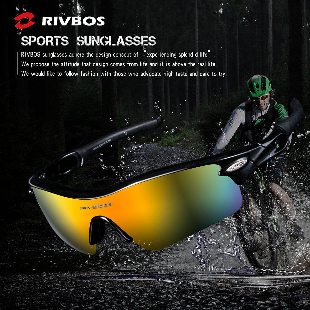 RIVBOS RBS905 Unisexe Lunettes de Soleil Homme Femme Polarisées a Protection UV400 pour Cyclisme Course à Pied Pêche PC Noir&Noir rY9x1GxdZ