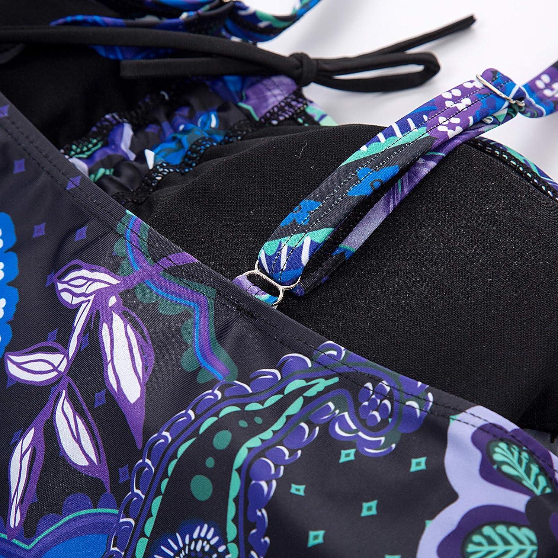 Hanna Nikole Women Plus Size Paisley Print Two Piece Swimsuit Bathing Suit Swimwear