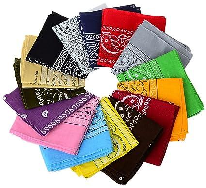 a513e54c29e Amazon.com: 12pcs Bandanas 22 X 22 Inch 100% Cotton Novelty Double Sided  Print Paisley Cowboy Bandana Party Favor Scarf Headband Handkerchiefs: Toys  & Games