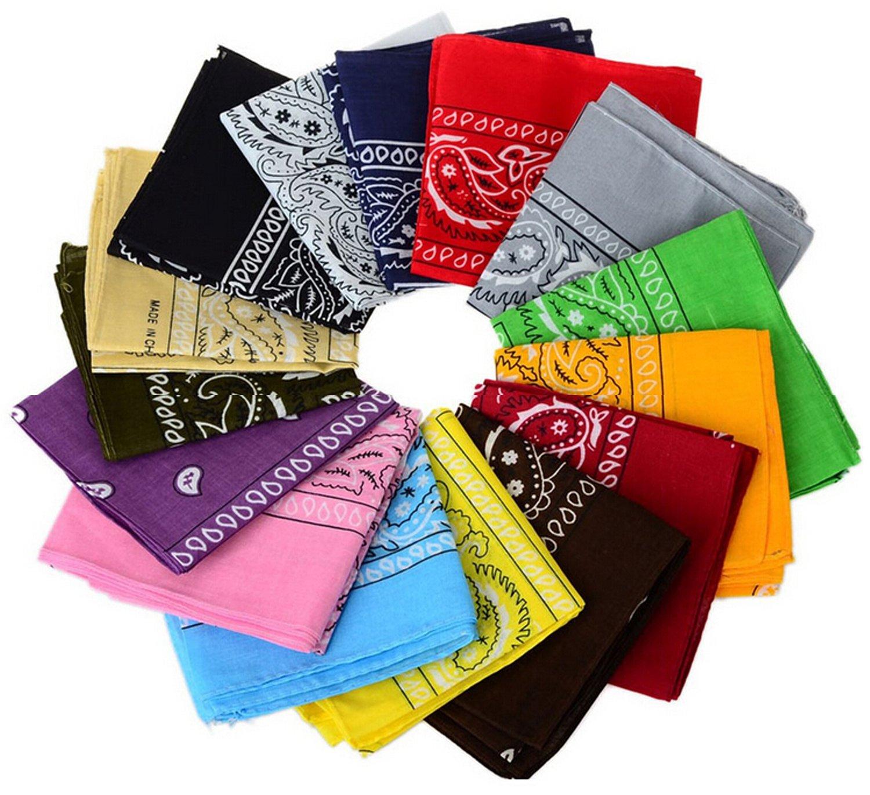 12pcs Bandanas 22 X 22 Inch 100% Cotton Novelty Double Sided Print Paisley Cowboy Bandana Party Favor Scarf Headband Handkerchiefs