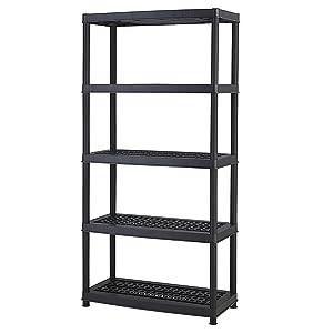 Keter 5-Shelf Heavy Duty Utility Plastic Freestanding Ventilated Shelving Unit, Black