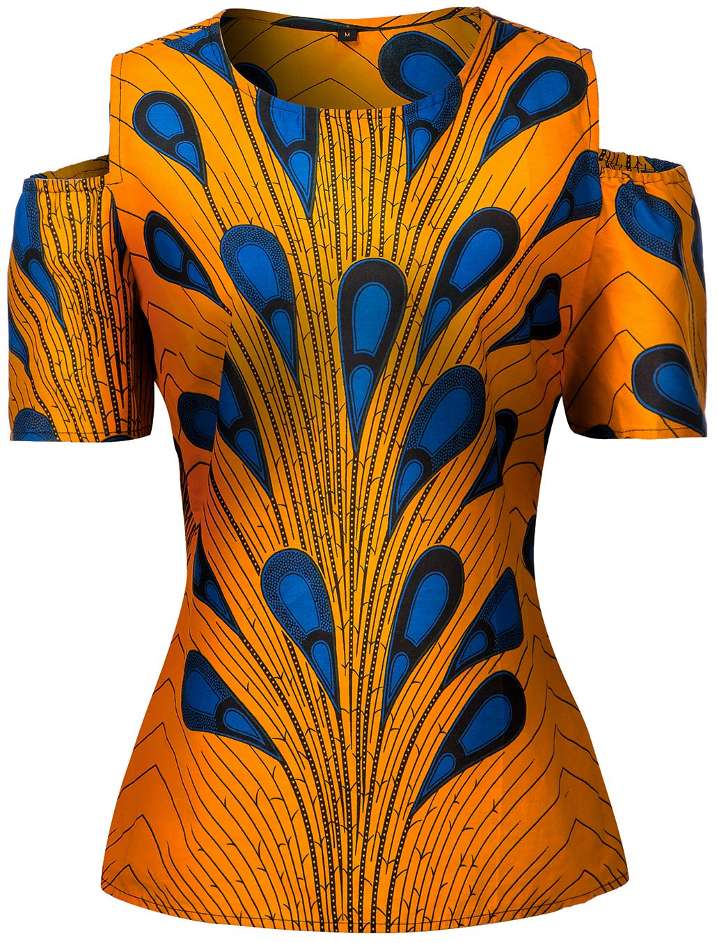 Shenbolen Women African Print Shirt Slim Fit Clubwear Party Shirt Blouse Top(A,X-Large)