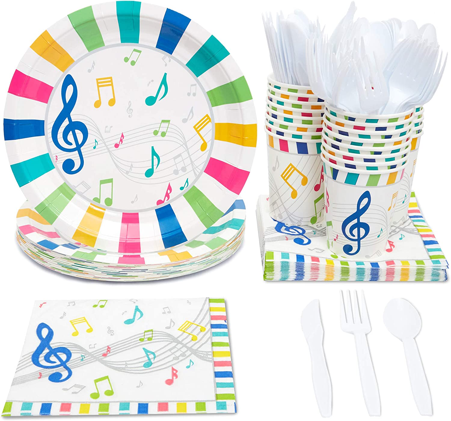 Music Party Supplies, Paper Plates, Napkins, Cups and Plastic Cutlery (Serves 24, 144 Pieces)