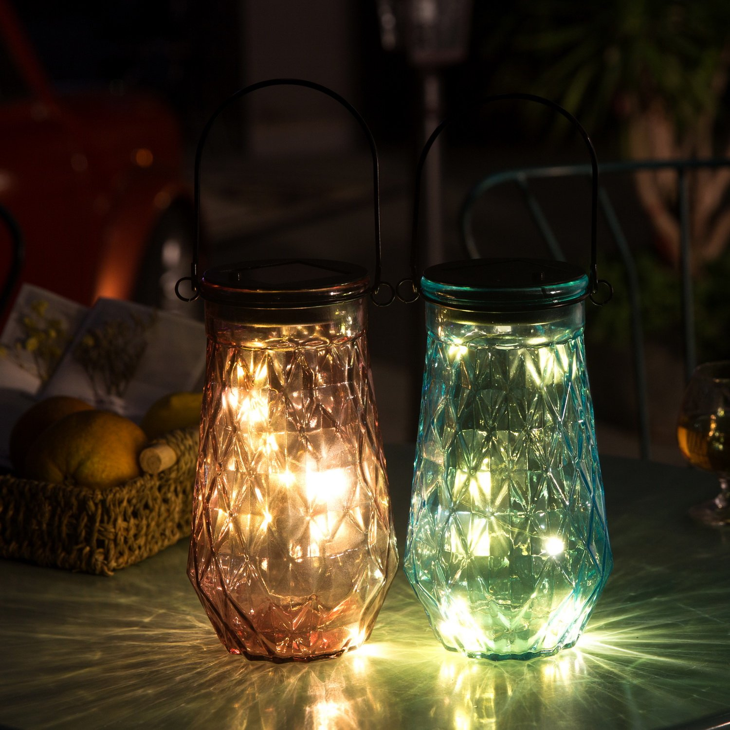 Solar Mason Jar Outdoor Decorative Glass- BroGarden Cute Table Light (Blue)2 Packs