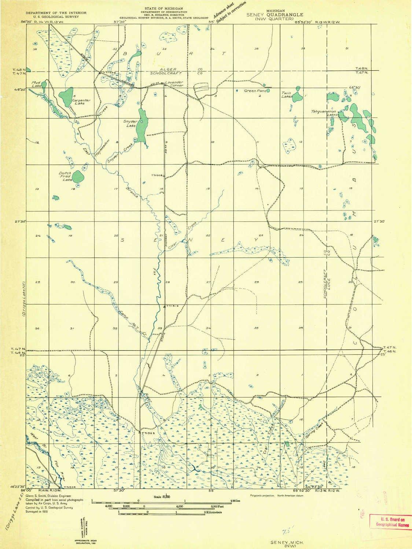 Nw Usa Map.Amazon Com Yellowmaps Seney Nw Mi Topo Map 1 31680 Scale 7 5 X