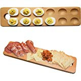 HigherHuman Reversible Wood Deviled Egg Tray and Charcuterie Board Cheese Serving Platter