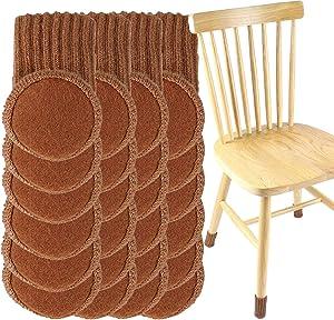 Chair Leg Floor Protectors,Furniture Sliders for Hardwood Floors,Chair Sockswith Felt Pad,High Elastic Floor Protectors forFurniture Legs,Knitted Chair Feet Socks,Furniture Pads/Caps Set (24 PCS)