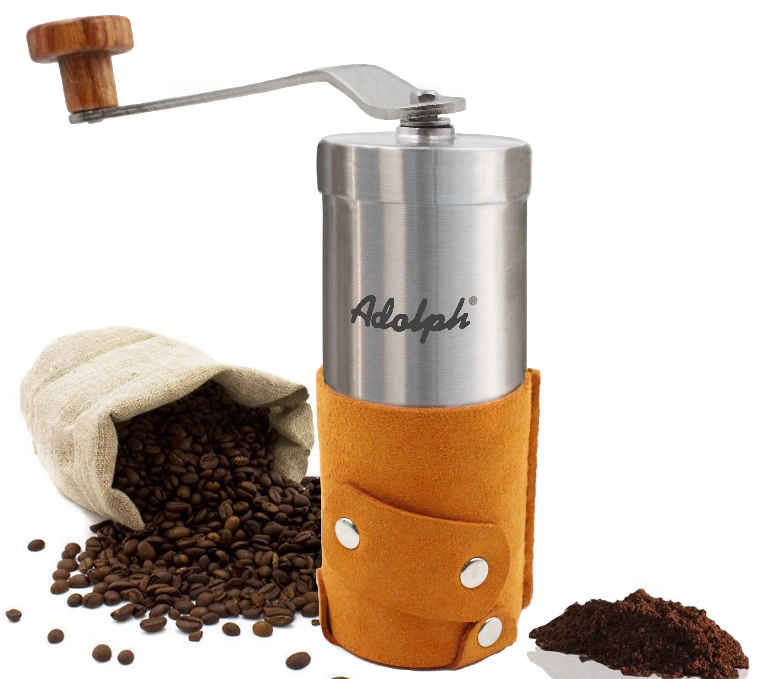 Adolph Portable Manual Brushed Stainless-Steel Coffee Grinder with Coarseness Adjustable Ceramic Conical Burr, Hand Crank and Microfiber Leather Wrapping by ADOLPH