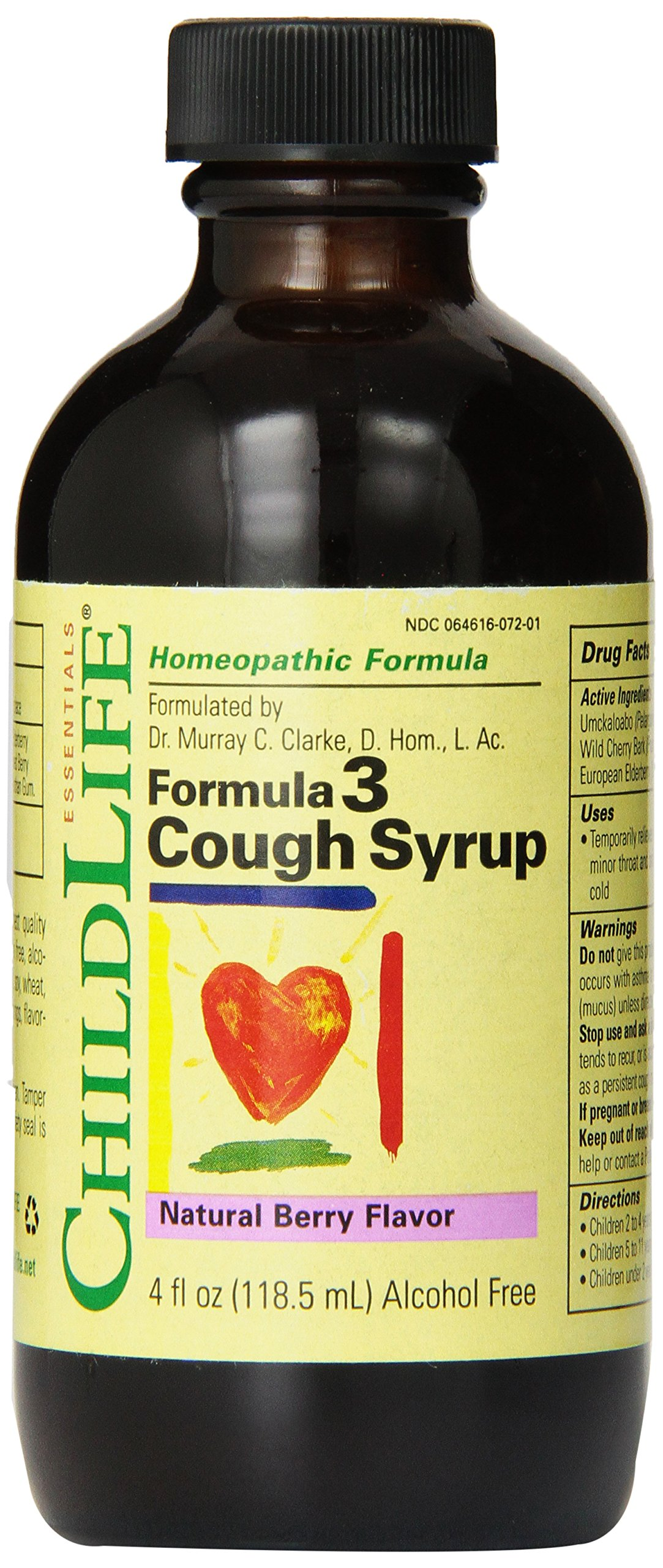Child Life Formula 3 Cough Syrup, Natural Berry Flavor, 4 Fluid Ounce by Childlife