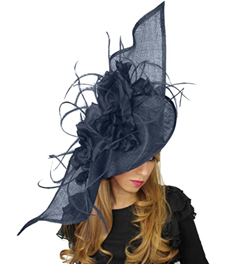 Hats By Cressida Very Large Navy Blue Ladies Feather   Silk Fascinator  Ascot Kentucky Derby Hat  Amazon.co.uk  Clothing fcbc9cab1c4