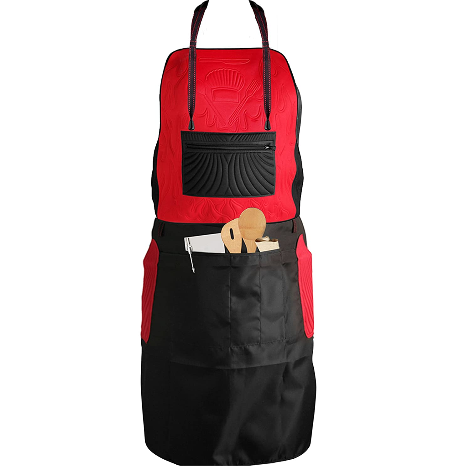Double Sided CHEF kitchenware 2 styles Bib & Waist Black/Red Reversible Kitchen Apron for Women and Men Extra Comfort Neck Cushion with Custom Pockets for Cooking Baking Cleaning Serving by Metric USA Metric Products