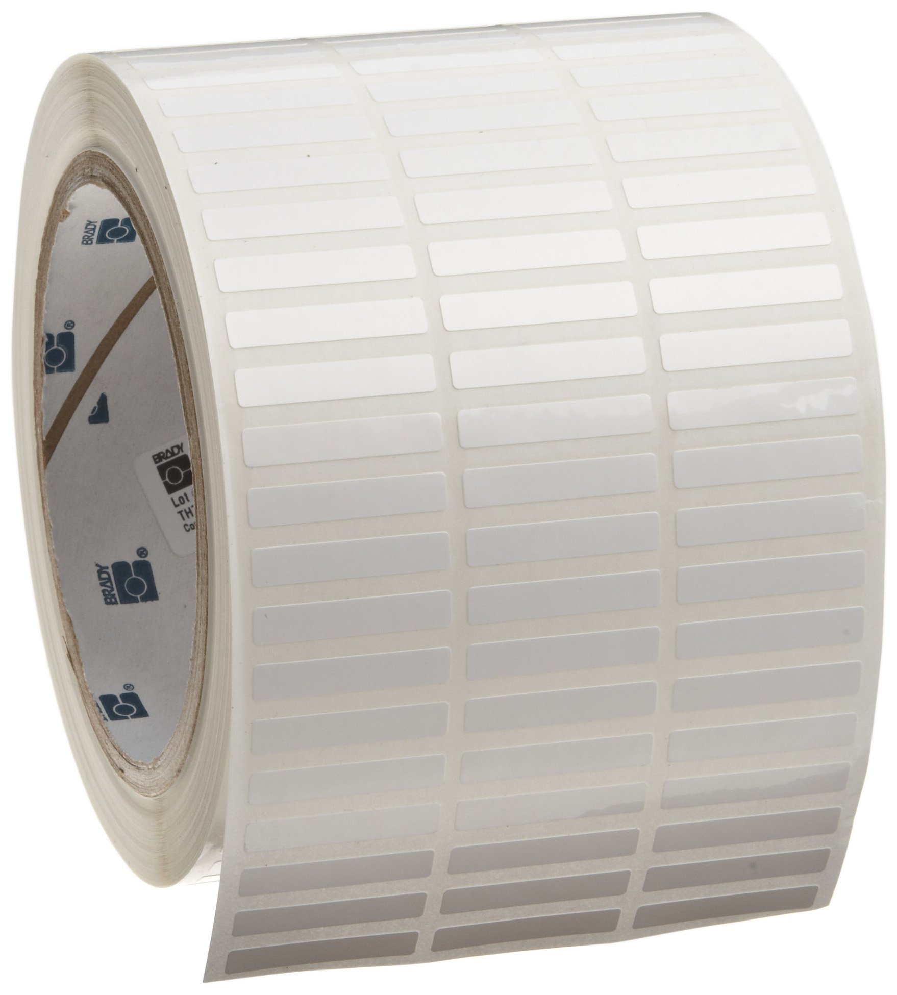 Brady THT-41-423-10 1'' Width x 0.187'' Height, B-423 Permanent Polyester, Gloss Finish White Thermal Transfer Printable Label (10000 per Roll)