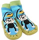 Baby Toddlers Kids Indoor Slipper Shoe Socks Moccasins NON SKID BLUE STRIPE MONKEY