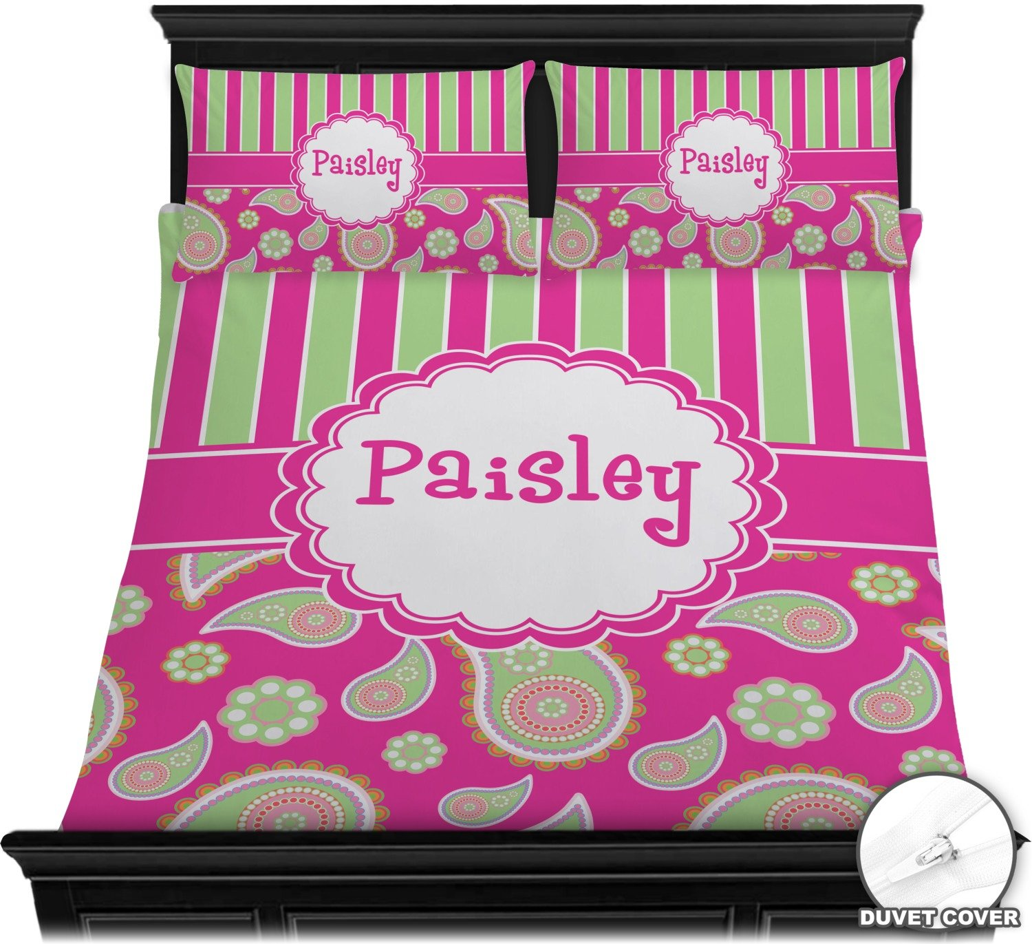 Pink & Green Paisley and Stripes Full / Queen Duvet Cover Set