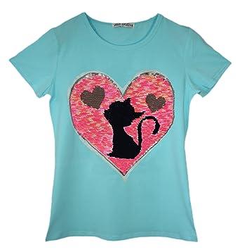 ba1eee817 Amazon.com: Girls CAT Teddy Bear Penguin T-Shirt TEE TOP Brush Changing  Sequin Age 3-14 Y: Clothing
