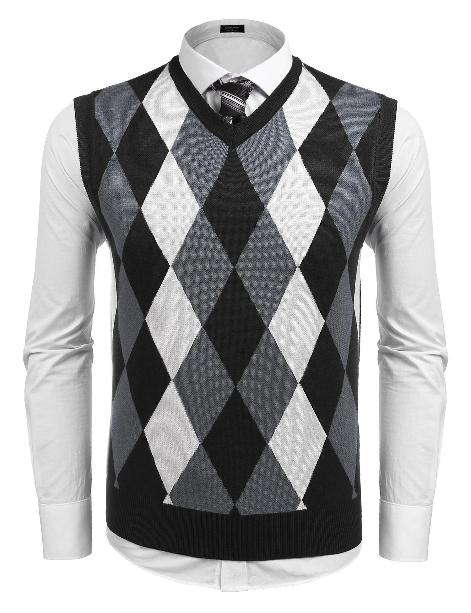 Coofandy Men's Casual Slim Fit V-neck Rhombus Business Knitwear Sweater Vest,Black,Small