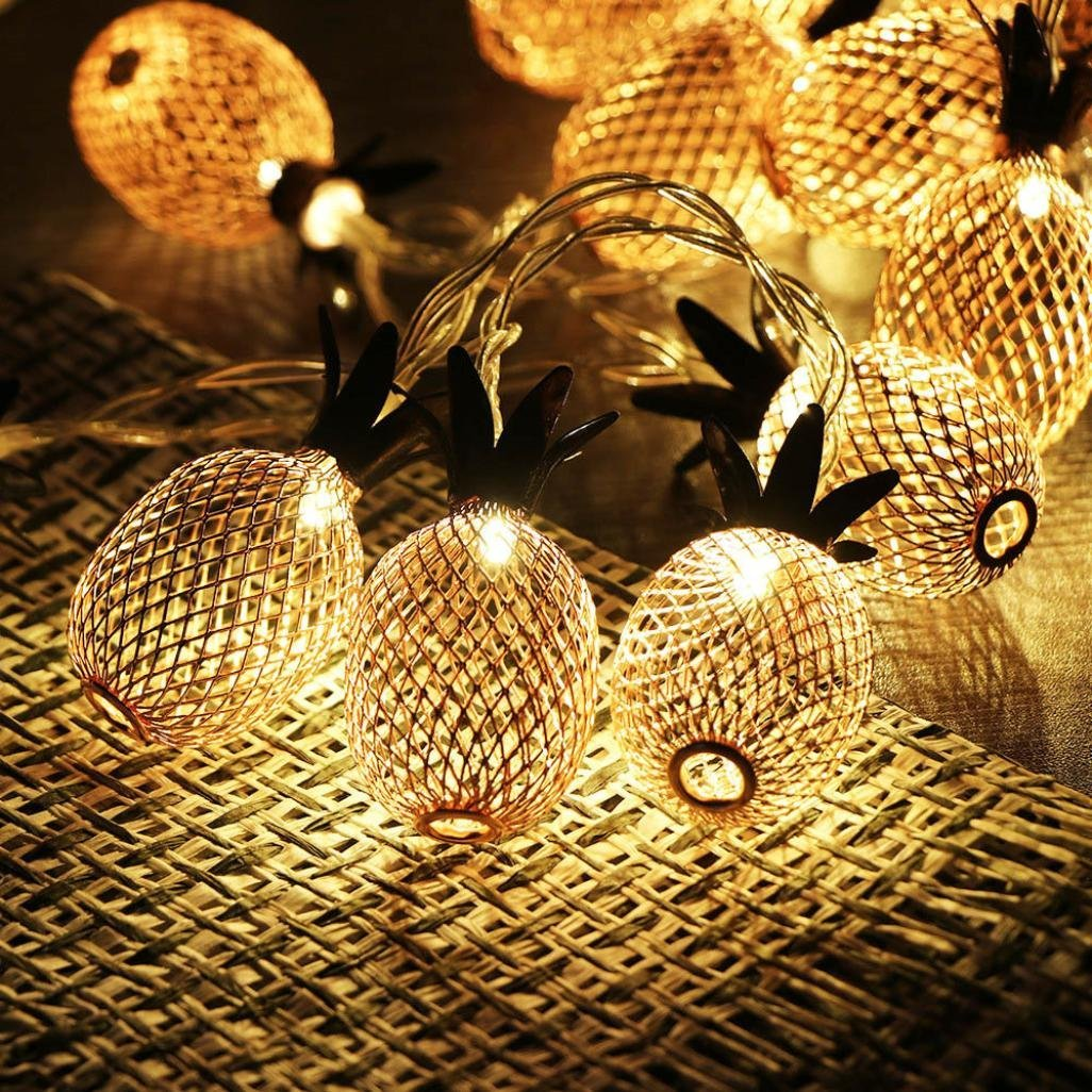 Aobiny Lamp string, LED Metal Hollowed Pineapple Holiday Decorative Lamp String (Gold) by Aobiny (Image #3)