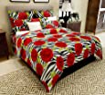 Home Candy 144 TC Floral Cotton Kids Double Bedsheet with 2 Pillow Covers - Red (CTN-BST-205)
