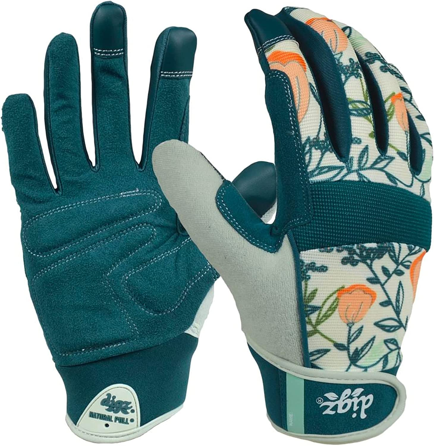 DIGZ 77862-23 High Performance Women's Gardening Work Touch Screen Compatible Fingertips Gloves, Large, Coral Floral Pattern