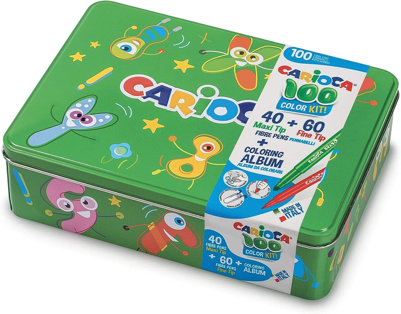 Carioca Box |42736/04 - Caja de Lata Verde con 100 Rotuladores Superlavables con Punta Fina y Maxi y Álbum para Colorear: Amazon.es: Oficina y papelería