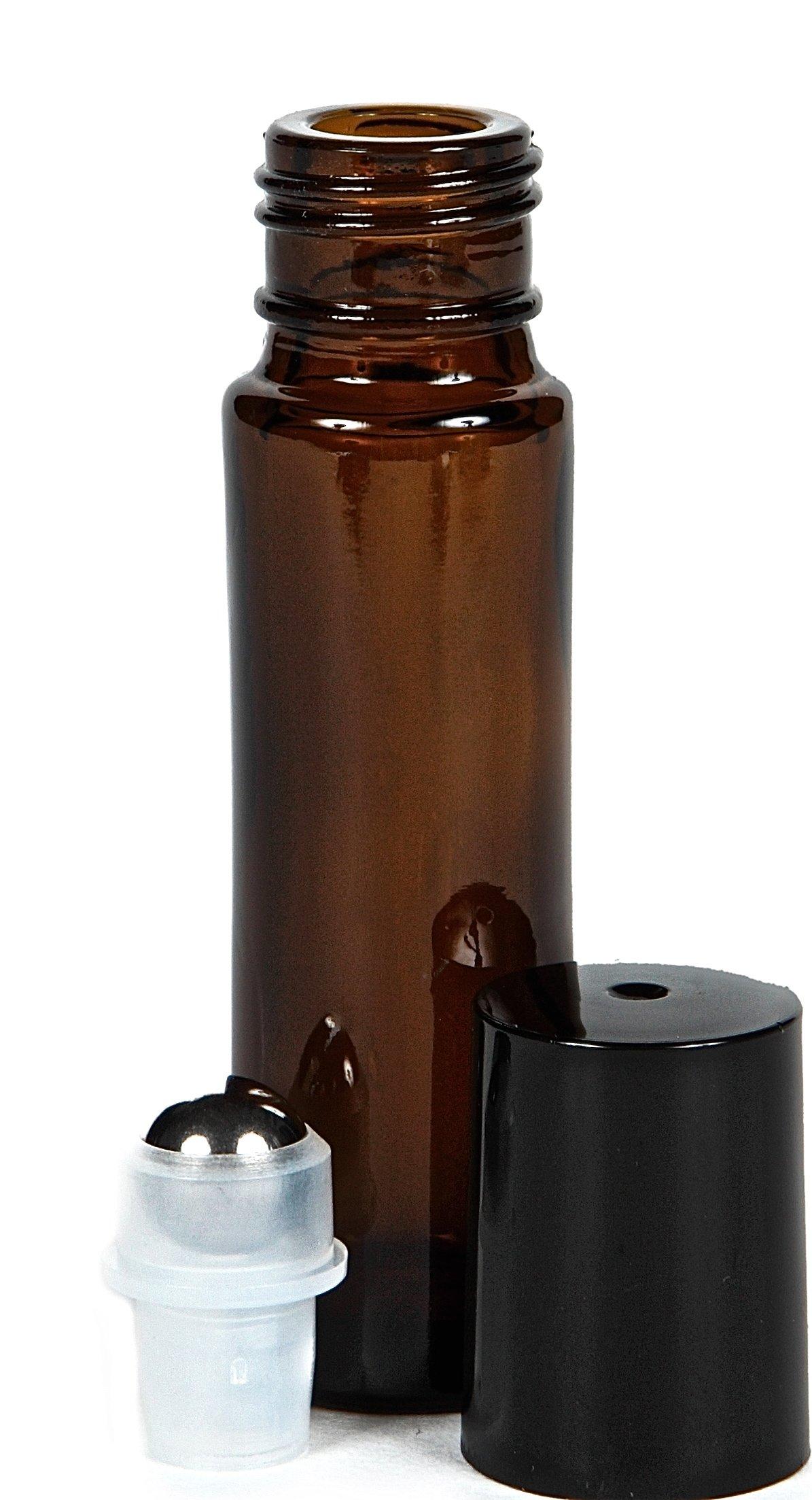 Vivaplex, 24, Amber, 10 ml Glass Roll-on Bottles with Stainless Steel Roller Balls. 3 - 3 ml Droppers included by Vivaplex (Image #5)