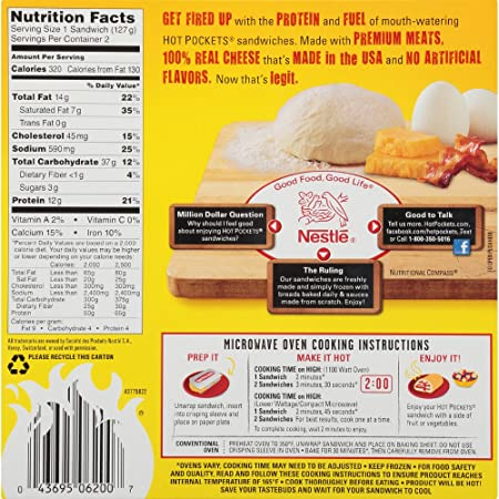 HOT POCKETS Frozen Sandwiches Bacon, Egg & Cheese 2-Pack: Amazon.com: Grocery & Gourmet Food