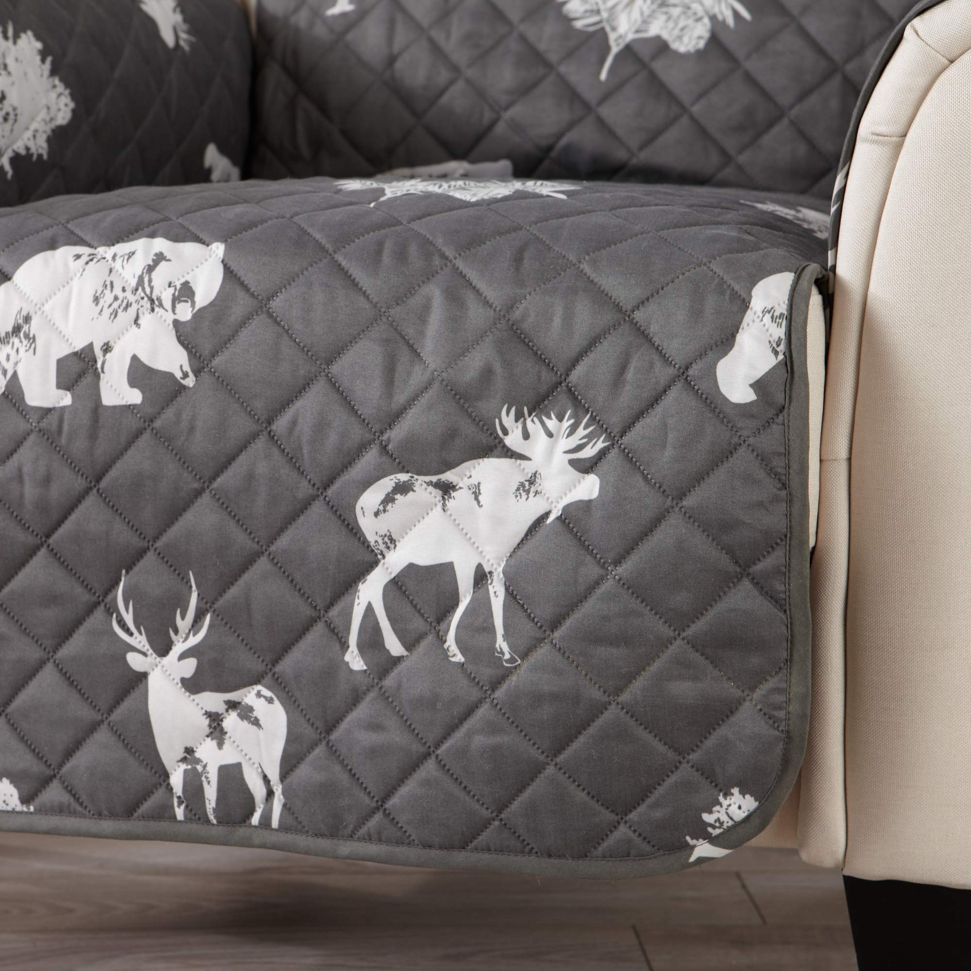 Sofa Saver Lodge Reversible Stain Resistant Printed Furniture Protector. Perfect for Pets and Kids. Adjustable Elastic Straps Included. (Chair, Forest Animals) by Sofa Saver (Image #4)