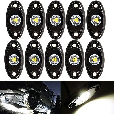 LED Rock Light White Kits LED Neon Underglow Light Offroad JEEP ATV SUV Truck Boat Underbody Glow Trail Rig Lamp Waterproof (10PCS,White): Automotive [5Bkhe0103571]