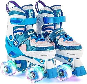 SULIFEEL Rainbow Unicorn 4 Size Adjustable Light up Roller Skates for Girls Boys for Kids