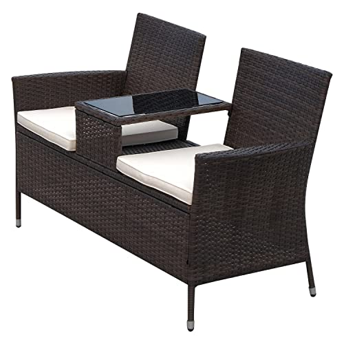 Outsunny 2 Seat Rattan Wicker Chair Bench with Tea Table Padded Seat- Brown