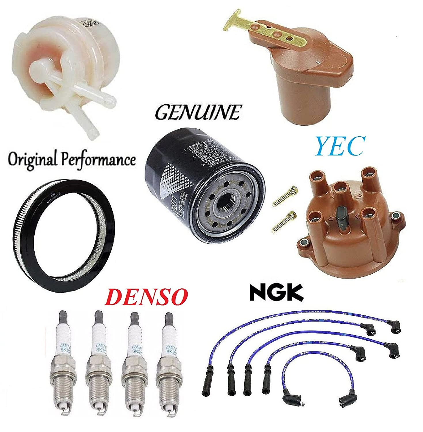 L4; 2.2L; 20R Eng.; Carb To 8//80 Tune Up Kit Filters Cap Rotor Plug Wire for Toyota Celica 1980 1982