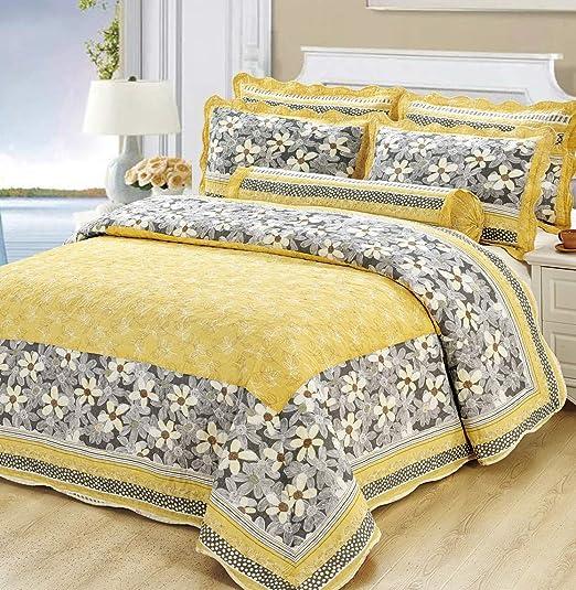 Labor de Retazos Estampado Floral Acolchado Grueso Colcha 100% algodón Conjuntos de Colcha, Estilo rústico Amarillo, 230x250cm (91x98 Pulgadas): Amazon.es: Hogar