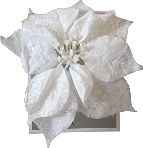 2 x 9 Inch Clip On Christmas Decoration Glittered Poinsettia Ornament (2 White)