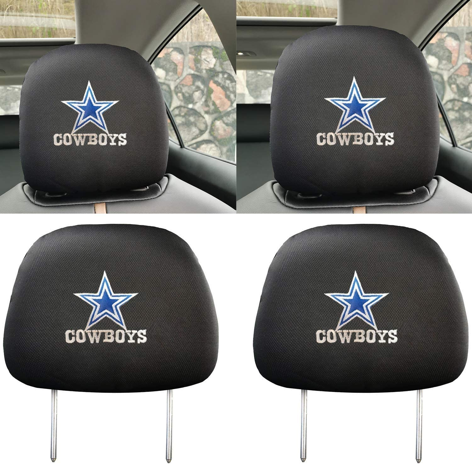 Goodcover 2Pcs Black Eagles Headrest Cover,Enhance The Visual Beauty of headrests highlighting The Attributes of Fans,Can be Extended and Applied Universal All car Models fit Philadelphia Eagles
