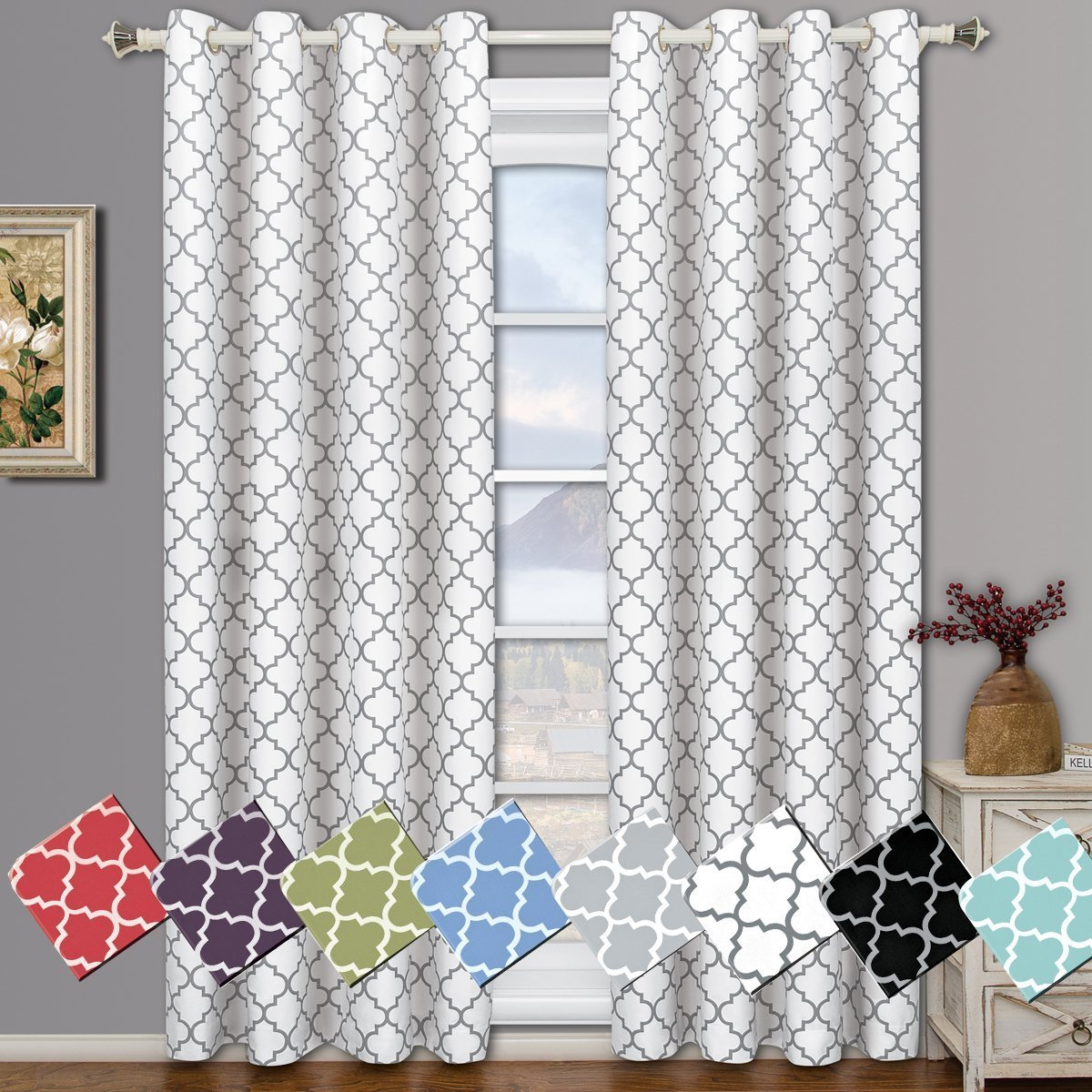Meridian White Grommet Room Darkening Window Curtain Panels, Pair / Set of 2 Panels, 52x108 inches Each, by Royal Hotel