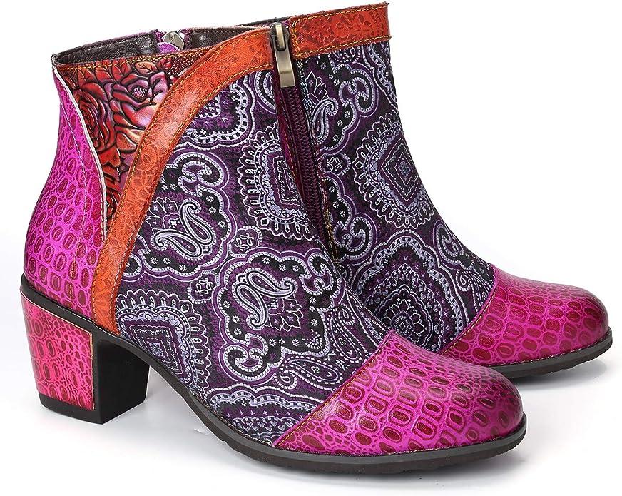 Gracosy Bottines Cuir Talons Femmes, Bottes en Cuir Chaussures de Ville Hiver à Talons Hauts Confortable Boots Montantes Bout Pointu avec Semelles