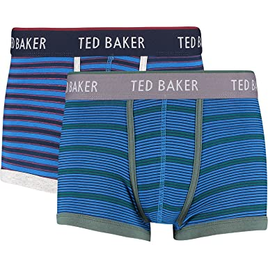 0521c51a8 TED BAKER London Mens Cotton  quot Wanted quot  Blue Striped Boxer Trunks ( Large (