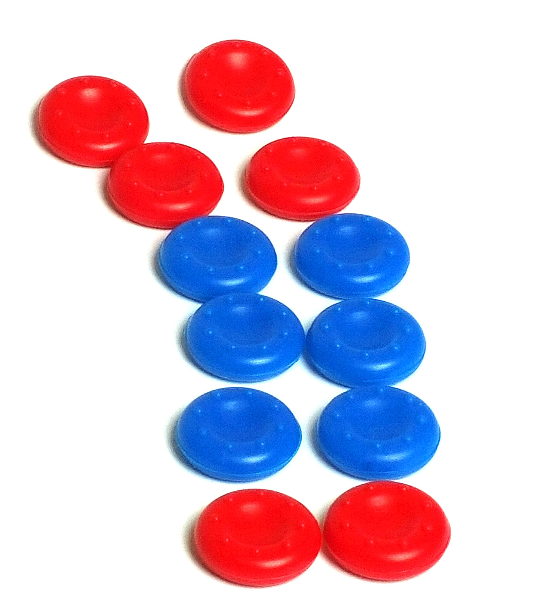 6pairs /12 pcs Color Combo Silicone Thumb Grip cover for PS3 / PS4 / Xbox 360 / Xbox One / Wii Game joystick controller cover - RED & BLUE