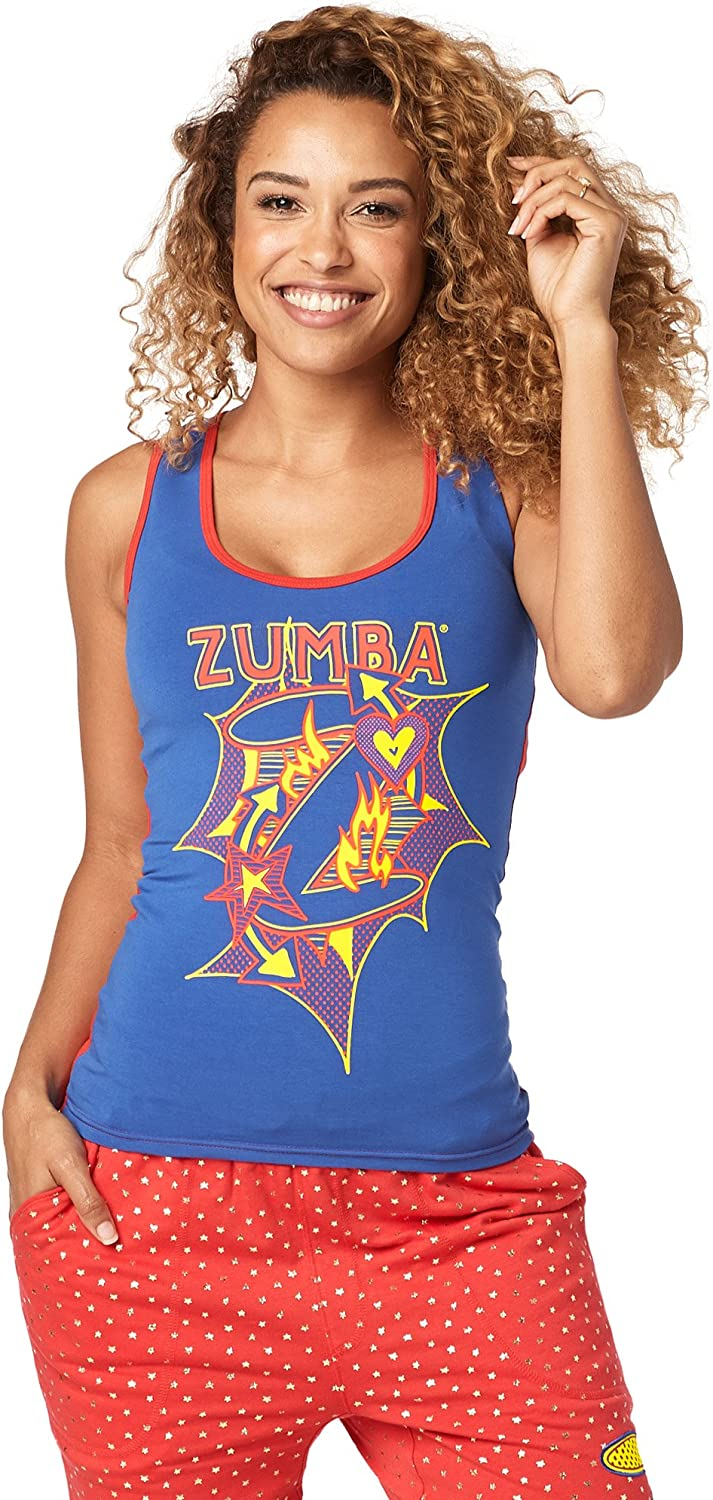 Zumba Soft Graphic Print Dance Fitness Tanks Workout Racerback Tops