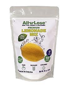 All-u-Lose LEMONADE Drink Mix, 0 Net Carbs, 16 oz Bag