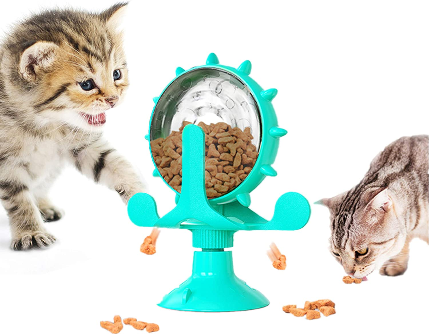 SEEALVIN Windmill Cat Toy,Pet Food Dispenser Cat Game Toys Turntable Snack Feeder with Suction Cup Slow Feeder Toy for Cat and Dog Pet Interactive Toys Rolling Cats and Dogs Food Leaker Toy (Blue)