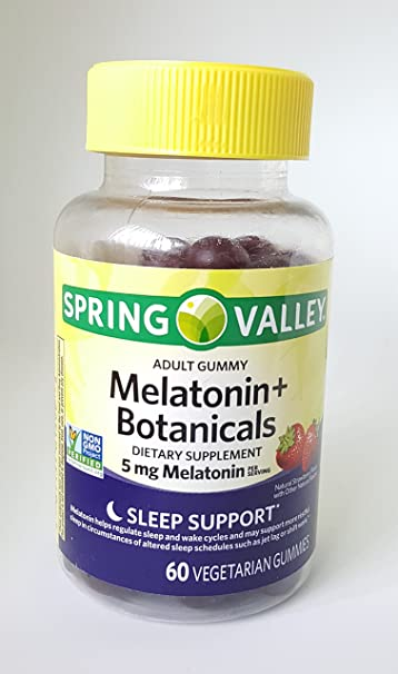 Spring Valley Adult Gummy Melatonin+Botanicals Dietary Supplement, 5mg, 60 vegetarian gummies,...