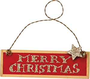 Primitives by Kathy 4 Inches x 1.25 Inches Red Merry Christmas Tin Decorative Sign