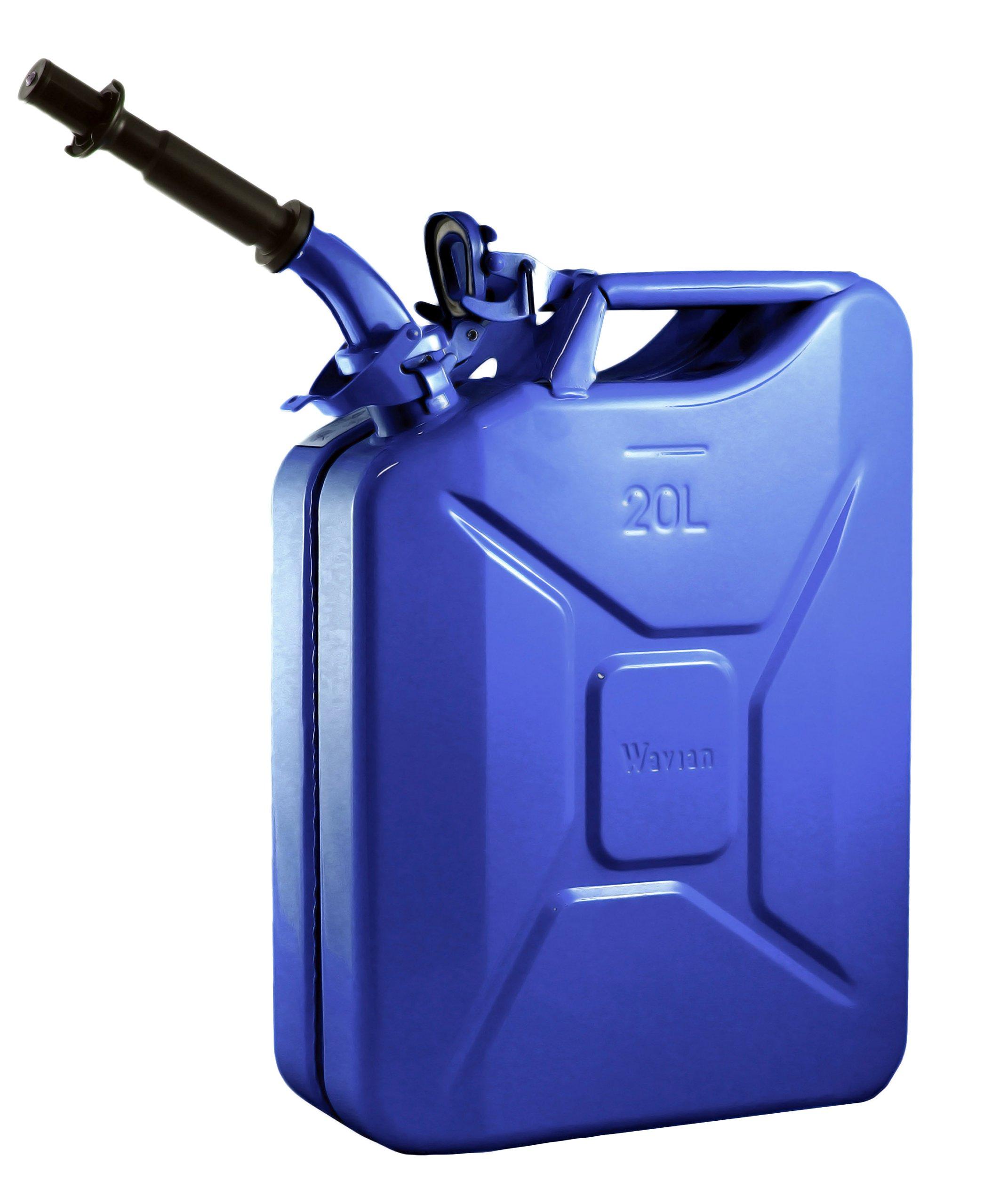 Wavian USA JC0020BLVS Authentic NATO Jerry Fuel Can and Spout System Blue (20 Litre)