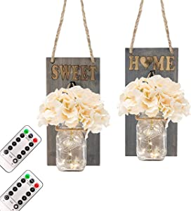 FELISHINE Mason Jar Decor Rustic Wall Sconce,with Remote Control - Rustic Home Decor,Wrought Iron Hooks,Silk Hydrangea and LED,Hanging Battery Powered Jar Sconce for Farmhouse Decor (Set of 2)
